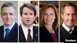 ARCHIVO - Los jueces de la corte federal de apelaciones, de izquierda a derecha: Raymond Kethledge, Brett Kavanaugh, Amy Coney Barrett y Thomas Hardiman, considerados por el presidente Donald Trump para la Corte Suprema de EE.UU., en foto combinada de archivos.