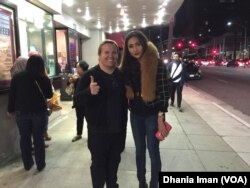 "Cheverly Amalia bersama produser film ""Blackout Experiment,"" Kristifor Cvijetic di Los Angeles (VOA/Dhania)"