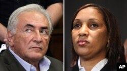 Cựu tổng giám đốc IMF Strauss-Kahn (trái) và bà Nafissatou Diallo, người dọn phòng khách sạn