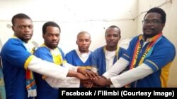 Les cinq militants des mouvements pro-démocratie accusés d'offense au chef de l'État à Kinshasa, RDC, 17 août 2018. (Facebook/Filimbi)