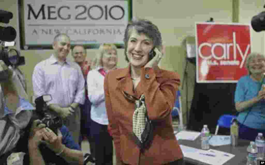 Republican U.S. Senate candidate Carly Fiorina calls supporters at a phone bank in Pasadena, Calif., Monday, Nov. 1, 2010. Fiorina is running against U.S. Sen. Barbara Boxer (D-Calif.). (AP Photo/Damian Dovarganes)