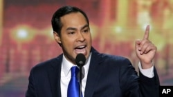 San Antonio Mayor Julian Castro addresses the Democratic National Convention in Charlotte, Sept. 4, 2012.
