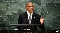 Presiden Barack Obama menyampaikan pidato terakhirnya kepada Majelis Umum PBB sebagai Presiden AS, di New York, Selasa (20/9).