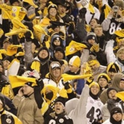 Pittsburgh Steelers fans wave their Terrible Towels