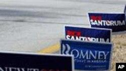 新罕布什尔州马路边插着写有各个参选人姓名的牌子