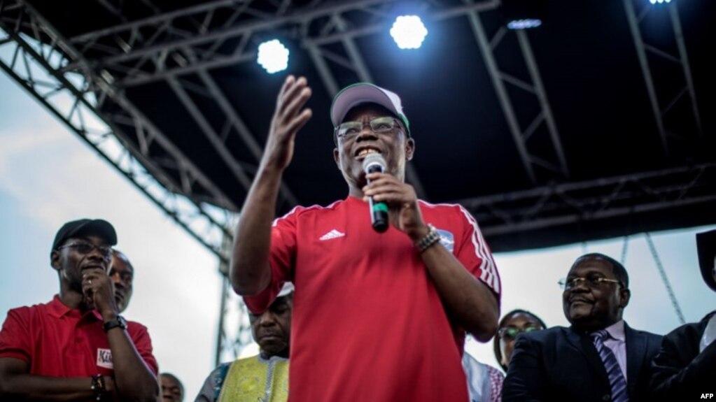 L'opposant camerounais Maurice Kamto, lors d'un meeting, à Yaoundé, le 30 septembre 2018.