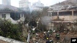 Destroços do avião que transportava Eduardo Campos