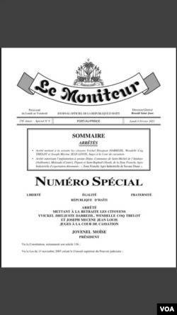 The presidential decree announced in Haiti's government newsletter announcing the retirement of three Supreme Court Justices, Feb. 8, 2021.