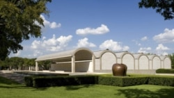 A southwest view of the Kimball Art Museum in Fort Worth, Texas
