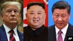 도널드 트럼프 미국 대통령, 김정은 북한 국무위원장, 시진핑 중국 국가주석.