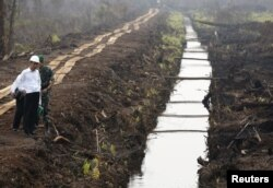 Presiden Joko Widodo menginspeksi kanal yang baru dibangun untuk mencegah kebakaran lahan gambut di Pulang Pisau, timur Palangkaraya, Kalimantan Tengah, 31 Oktober 2015. (Foto: Darren Whiteside/ Reuters)
