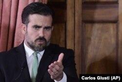 Puerto Riko qubernatoru Rikardo Rossello mətbuat konfransında jurnalistlərin suallarını cavablandırır. San Juan, 16 iyul, 2019.