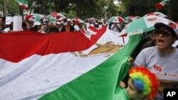 支持人民圣战者组织的伊朗人抗议艾哈迈迪内贾德访问联合国
