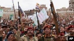 26일 예멘 사나에서 사우디아라비아의 공습에 항의하는 후티 반군의 집회가 열렸다.
