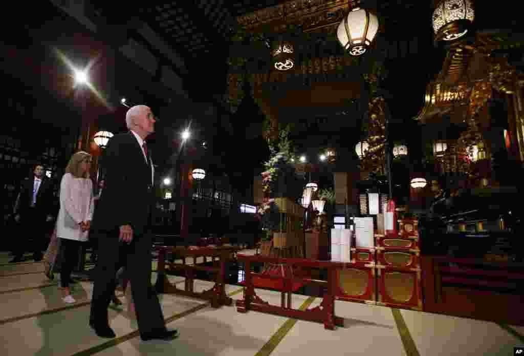 دیدار مایک پنس، معاون رئیس جمهوری آمریکا از معبد بوداییان در توکیو