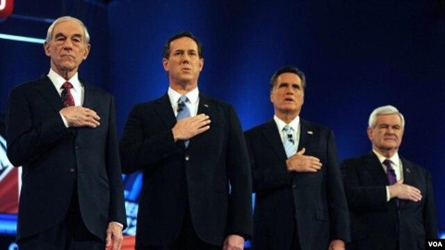 Ron Paul,  Rick Santorum, Mitt Romney ak Newt Gingrich