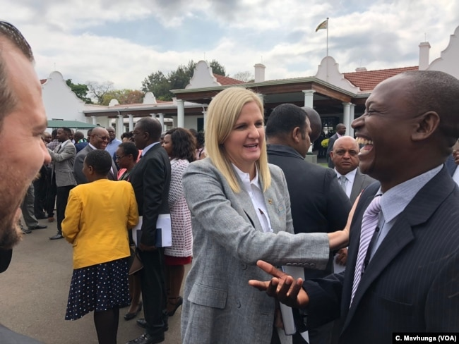 Kirsty Coventry, Africa's most decorated Olympian is now Zimbabwe's minister of sports and youths, Harare, Sept. 10, 2018. She says that the issue of resources will affect her job.