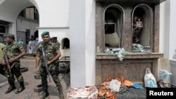 2019年4月21日斯里蘭爆炸事件後,斯里蘭卡軍方在聖安東尼神殿前守衛