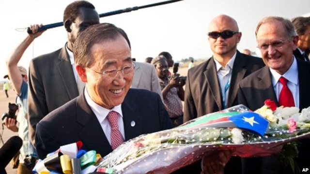 U.N. Secretary General Ban Ki-moon is greeted upon his arrival in Juba, Sudan, on Friday, July 8, 2011