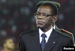 FILE - Equatorial Guinea's President Teodoro Obiang Nguema Mbasogo, Jan. 21, 2012.