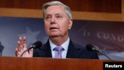 U.S. Senator Lindsey Graham (R-SC) speaks at a news conference at the U.S. Capitol, July 20, 2017.