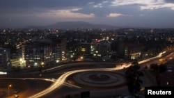 FILE - A general view shows part of the capital Addis Ababa at night, Ethiopia.