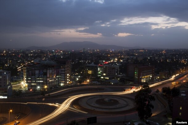 FILE - A general view shows part of the capital Addis Ababa at night, Ethiopia, May 17, 2015.