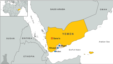 Yemen map highlighting Aden, Shuqra and Abyan