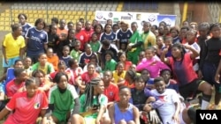 Young players come to the Ahmadou Ahijo stadium in Yaounde to be selected to join Rails Football Academy, Cameroon. (ME Kindzeka for VOA)