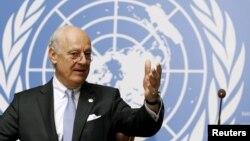Đặc sứ Liên hiệp quốc về Syria Staffan de Mistura phát biểu tại Geneva, ngày 28/4/2016.