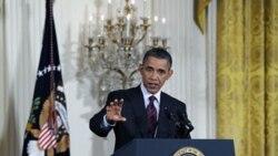 باراک اوباما، رییس جمهوری آمریکا در یک کنفرانس خبری در کاخ سفید - ۲۹ ژوئن ۲۰۱۱