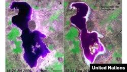 تصاویر بالا روند تغییر مساحت دریاچه ارومیه را از سال ۱۳۴۲ تا ۱۳۹۰ نشان می دهد. منبع : سازمان ملل متحد