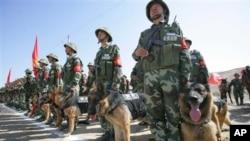 牵着警犬的中国边防部队在新疆集结待命。(资料照)