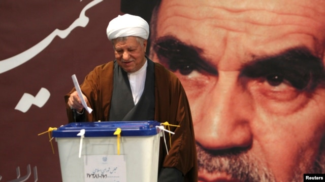 Former Iranian President Ali Akbar Hashemi Rafsanjani seen casting his ballot in parliamentary elections, Tehran, March 2, 2012, file photo.