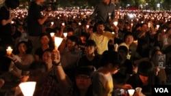 香港维多利亚公园六四烛光晚会