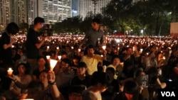 香港維多利亞公園六四燭光晚會。(資料照片)
