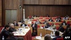 Le directeur général du FMI assiste à une réunion avec les commissions économiques et financières de l'Assemblée nationale et du Sénat de la République démocratique du Congo le 25 mai 2009 à Kinshasa, pendant deux jours visite à Kinshasa (RDC). (Photo AFP/ Dominique Viger)