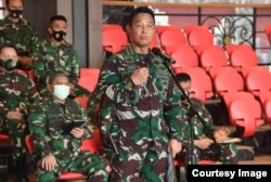 Kepala Staf Angkatan Darat (KSAD) Jendral TNI Andika Perkasa dalam konferensi pers di Mabes AD Jakarta (foto: dok. TNI AD)