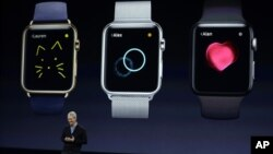 Apple CEO Tim Cook talks about the new Apple Watch during an Apple event, in San Francisco, California, March 9, 2015.