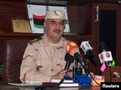 FILE - Ex-general Khalifa Haftar, Benghazi, Libya, June 4, 2014.
