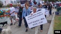 六百多人響應號召在洛杉磯舉行遊行示威,打出簡體字的海報抗議中國的玉林狗肉節。(美國之音國符拍攝)