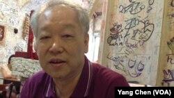 前台湾情报军官、 台湾禁书《情报札记》作者庞大为(美国之音杨晨拍摄)