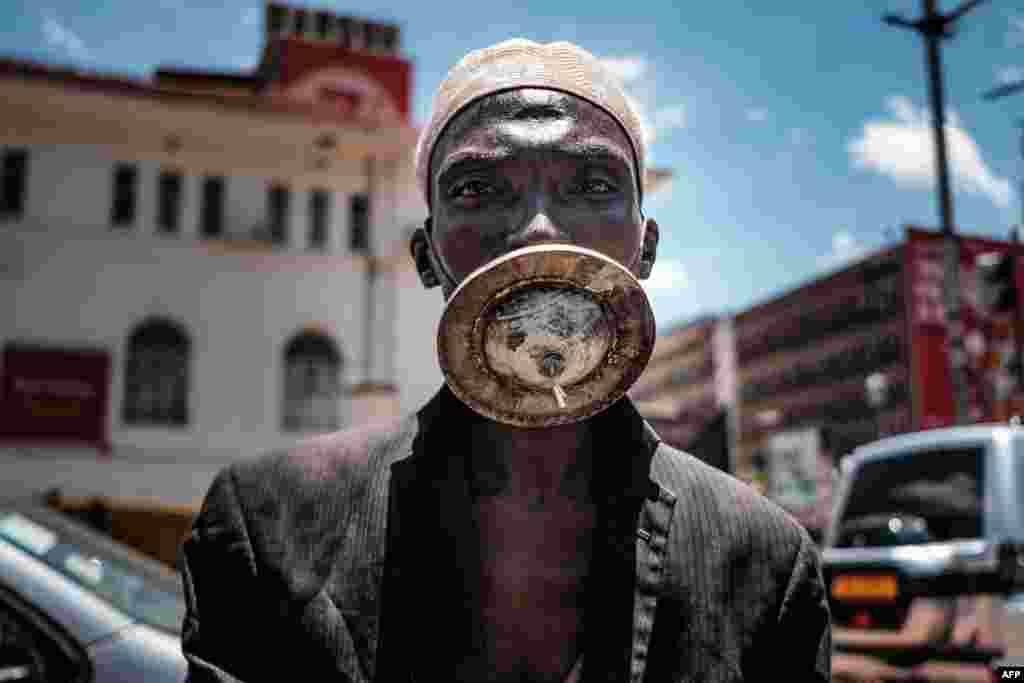 A man wearing an alternative mask in Kampala. Ugandan President Yoweri Museveni ordered an immediate 14-day nationwide lockdown in a bid to halt the spread of the coronavirus.