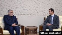 علاءالدین بروجردی رئیس کمیسیون امنیت ملی و سیاست خارجی مجلس ایران در دیدار با بشار اسد