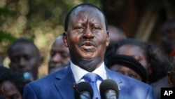 Kenyan presidential candidate Raila Odinga, who lost the presidential election, speaks to the media in Nairobi, March 9, 2013.