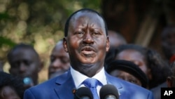 Kenyan former PM Raila Odinga, who lost the presidential election, speaks to the media in Nairobi, March 9, 2013.