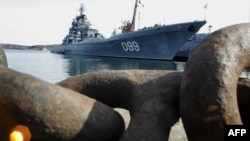 "FILE - The flagship of Russia's Nothern Fleet, heavy nuclear missile cruiser ""Pyotr Veliky"" (Peter the Great) is seen at a mooring in Severomorsk not far from the city of Murmansk, April 19, 2007."
