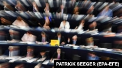 Members of Parliament vote on the copyright rules for the internet at the European Parliament in Strasbourg, France, 26 March 2019.