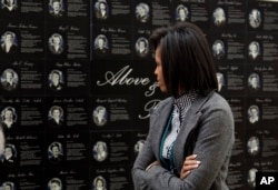 Michelle Obama visits the Women in Military Service for America Memorial Center in 2009.