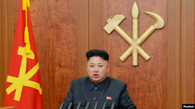 North Korean leader Kim Jong Un delivers a speech during his New Year address, released by Kyodo Jan. 1, 2014.